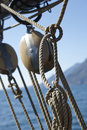 Sailing equipment details ropes and styling tools of a sailboat Stock Photography
