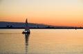 Sailing at evening Royalty Free Stock Photo