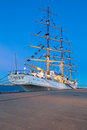 Sailing frigate in harbor of gdynia poland polish sail training ship the gift youth at the baltic sea on february this was Royalty Free Stock Photo