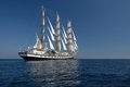 Sailing frigate under full sail in the ocean Royalty Free Stock Photos