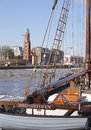 Sailing i bremerhaven germany date february place niedersachsen description old fashioned boat at bremerhavens harbour Royalty Free Stock Images