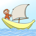 Sailing the illustration of a monkey on the banana boat Royalty Free Stock Image