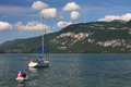 Sailing on Lac du Bourget Stock Photography