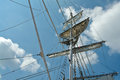Sailing masts of wooden tallships traditional vintage sky background Royalty Free Stock Photo