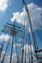 Sailing masts of wooden tallships traditional vintage sky background Stock Photography