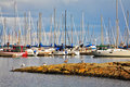 Sailing and motor yachts in passage of Canada Royalty Free Stock Photography