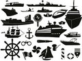 Sailing objects icon set Stock Photo