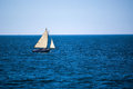 Sailing ocean blue a small sailboat on the sea off of cape cod in massachusetts Royalty Free Stock Photos