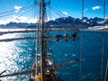 Sailing on old tallship, aloft Royalty Free Stock Photo
