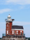 Sailing past stepping stone lighthouse on a beautiful day the historic nestled between the bronx and north hemstead Stock Image