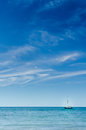 Blue Ocean Sea Sky Sailing Boat Yacht Luxury Lifestyle. Vertical Royalty Free Stock Photo