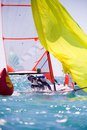 Sailing regatta dynamic team struggle to the ship Royalty Free Stock Images