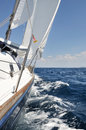 Sailing with sailboat on open sea Royalty Free Stock Photos