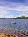 Sailing sandbank boat at scotland uk Royalty Free Stock Photography