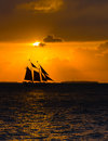 Sailing Schooner at Sunset Royalty Free Stock Photo