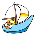Sailing on the sea illustration of a ship painted in child style Royalty Free Stock Photography