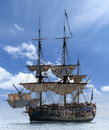 Sailing ship at the baltic sea scenic view of image assembled from few frames Stock Photo