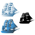 Sailing ship big vector illustration different color executions Royalty Free Stock Images