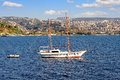 Sailing ship cruising into bosphorus two masted wooden boat Stock Photography