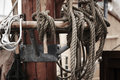 Sailing ship details mast and ropes in harbor Stock Photography