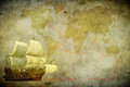 Sailing ship on a grunge background Stock Photos