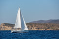 Sailing ship luxury yacht boat with white sails in the Mediterranean Sea. Sport. Royalty Free Stock Photo