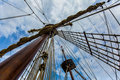 Sailing ship mast looking up the of an old Stock Photos