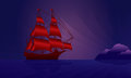 Sailing ship on the night skyline vector illustration Stock Photography