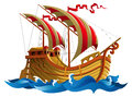 Sailing ship in oceanic waves vector illustration Royalty Free Stock Images