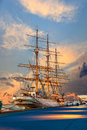 Sailing ship polish frigate dar pomorza in port of gdynia poland Royalty Free Stock Image