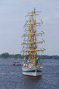 Sailing ship riga latvia jul mir from russia arrives in latvia during the tall ships races annual regatta shown on jul in riga Stock Image