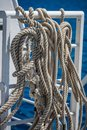Sailing ship ropes and lines neatly coiled Royalty Free Stock Photo