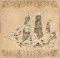 Sailing ship silhouette over antique map retro postcard on vintage paper background Royalty Free Stock Images