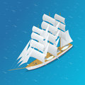 Sailing ship. Snow-white sails of the ship. Flat 3d isometric vector illustration.