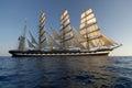 Sailing ship at sunset Royalty Free Stock Photo