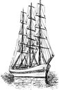 Sailing ship vector sketch of the old Royalty Free Stock Images