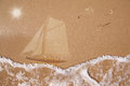 Sailing ship, wet sand texture Royalty Free Stock Image