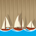Sailing ships background illustration of three yahcts on a striped Royalty Free Stock Photo