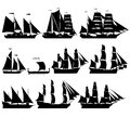 Sailing ships the contours of the old black and white illustration on a white background Stock Image