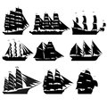 Sailing ships the contours of the old black and white illustration on a white background Stock Images