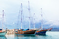 Sailing ships in the sea bay Stock Photos