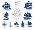 Sailing ships silhouettes and marine symbols iconset