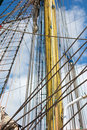 Sailing vessel marine rope ladder at old ship sea hemp ropes on the old nautical ladder upstairs on the mast Royalty Free Stock Photos