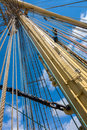 Sailing vessel mast of old ship Stock Photos
