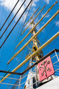 Sailing vessel mast of old ship on blue sky Royalty Free Stock Photos