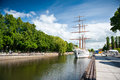 Sailing vessel meridianas in klaipeda lithuania june danes quay on june was built finland and is Stock Photos
