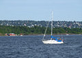 Sailing White Yacht on the Oslo Harbour Royalty Free Stock Photo