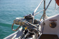 Sailing winch on a boat Royalty Free Stock Image