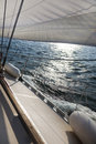 Sailing into the wind / sunlight Royalty Free Stock Photo