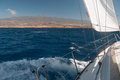 Sailing yacht in atlantic ocean near tenerife Stock Images